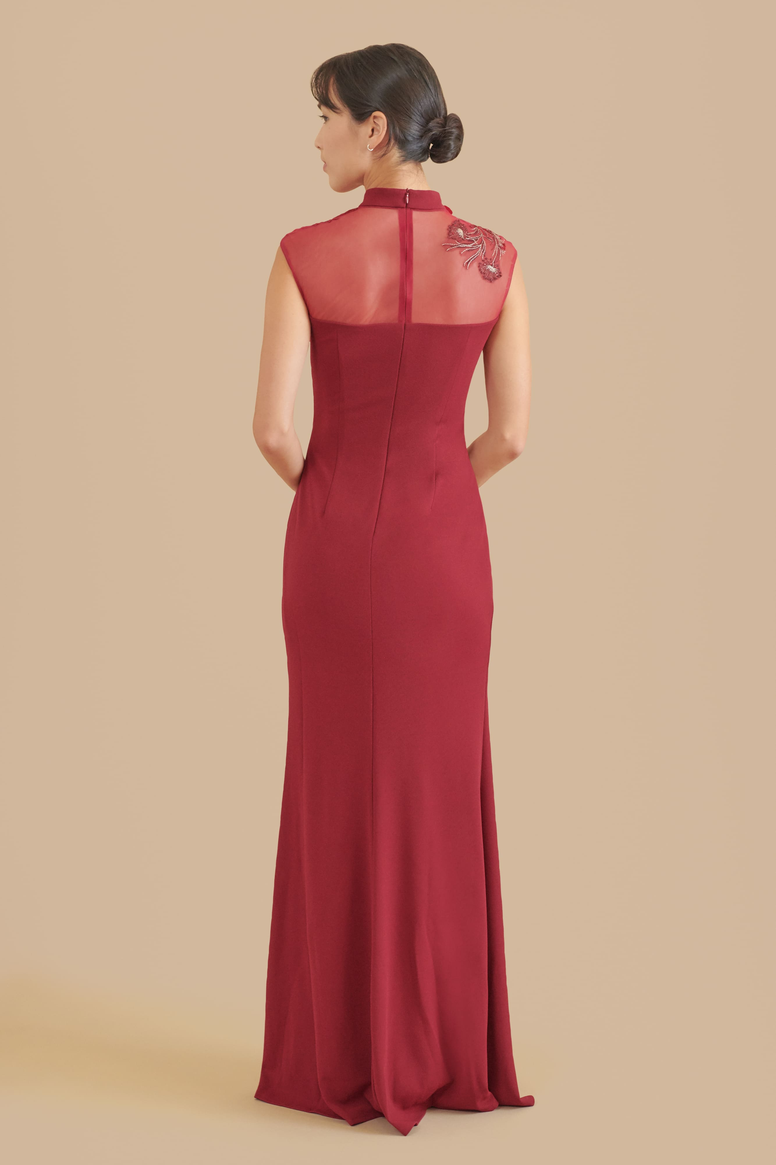 Wine Red Marilyn Dress | Modern Chinese Wedding Dress