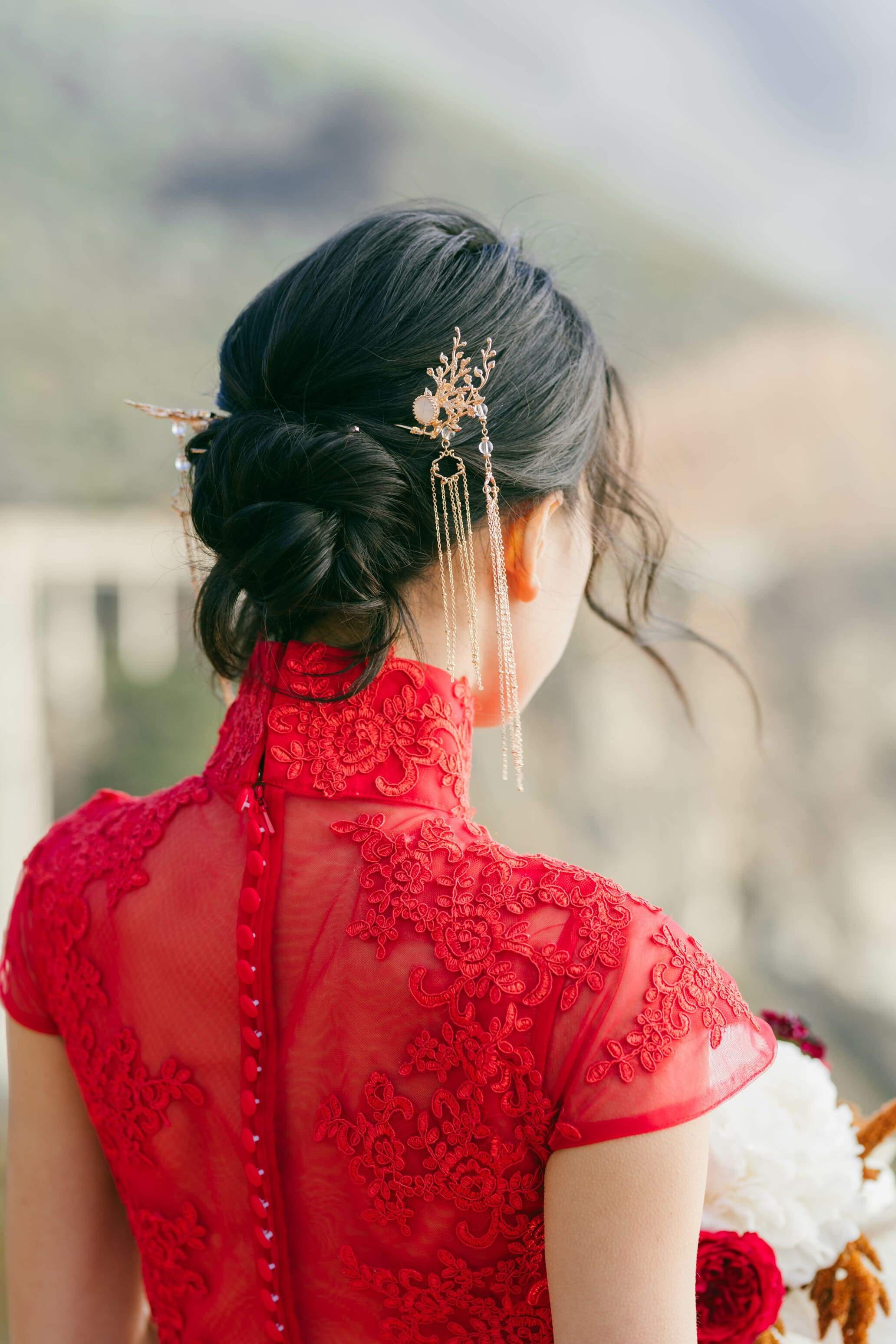 Golden Snowflake Hair Pins | Chinese Wedding Hair Accessory