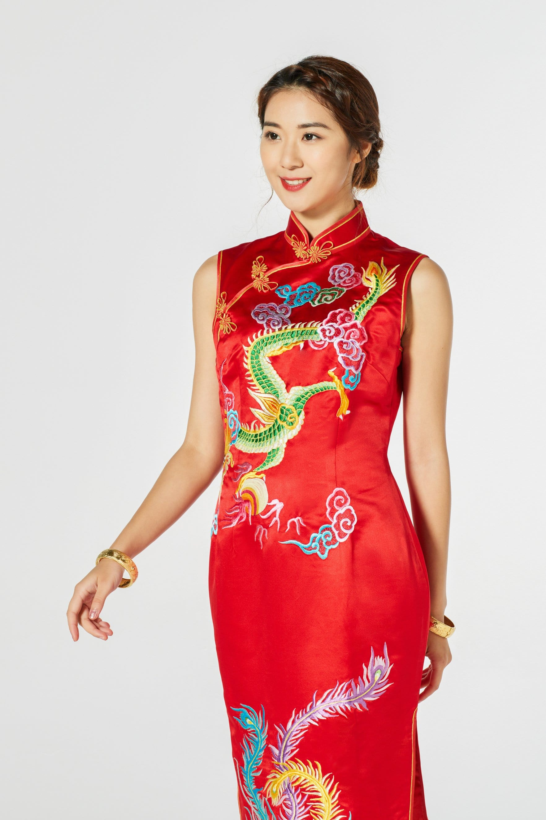 Coral Bespoke Dress - Cheongsam - East Meets Dress