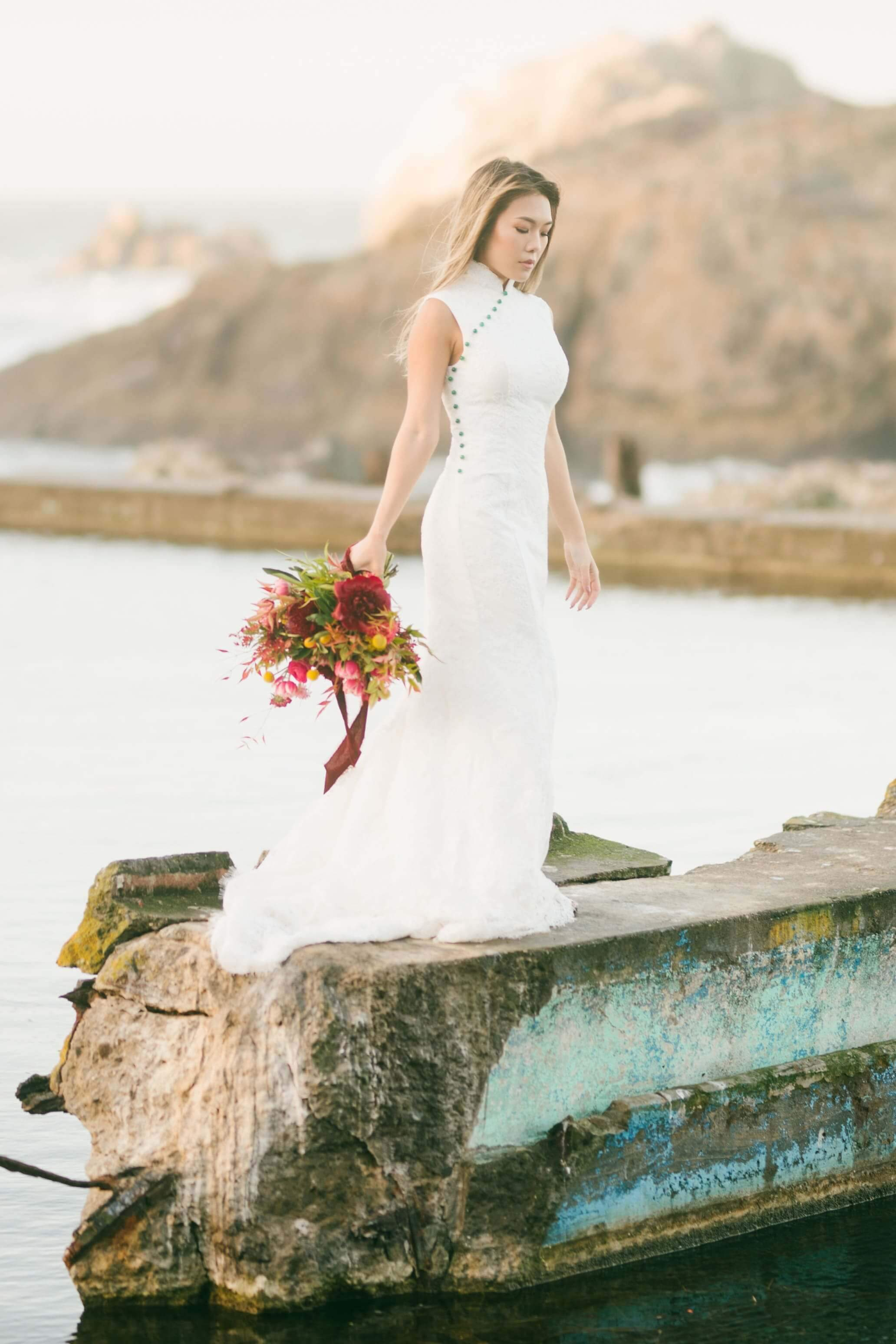Jade Bespoke Dress [Mermaid] | White Cheongsam Wedding Dress