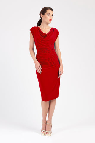 83631e75d0 Billie - Berry Red Ruched Wiggle Dress