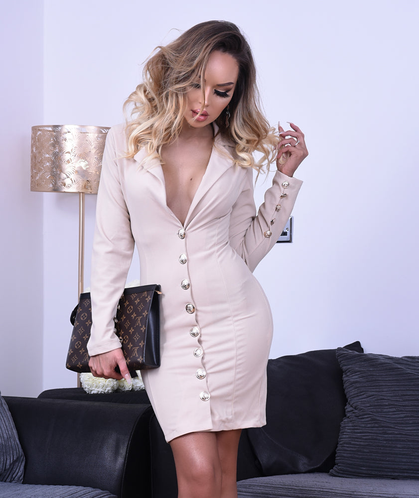 Ashanti Stone Button Long Sleeve Blazer Dress