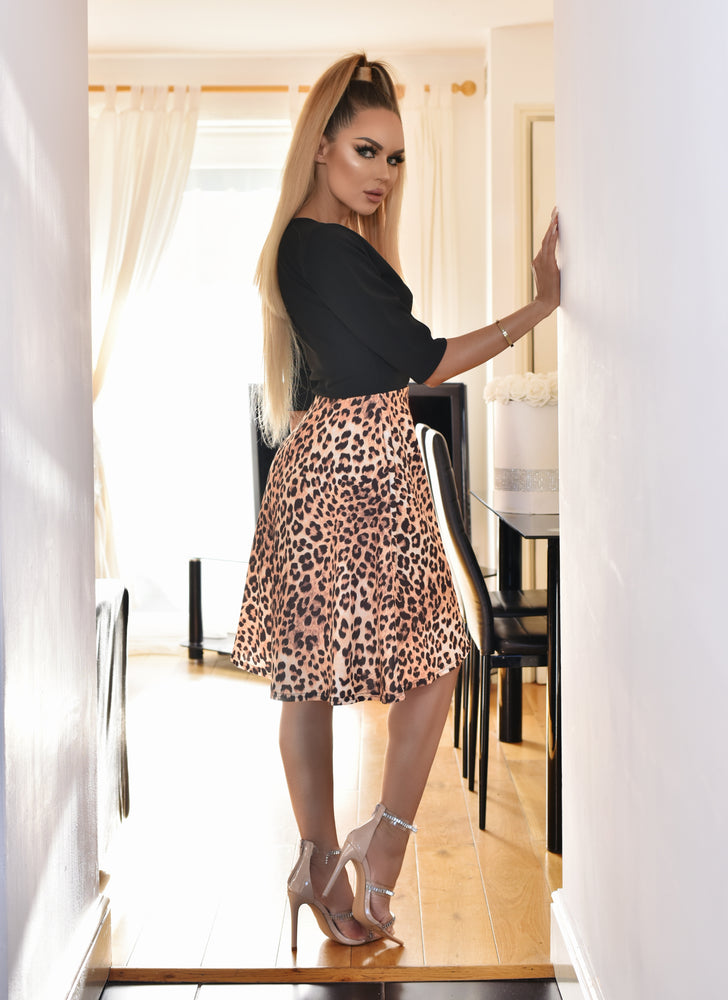 Emma Animal Print Wrap Flare Skater Dress - Missfiga.com