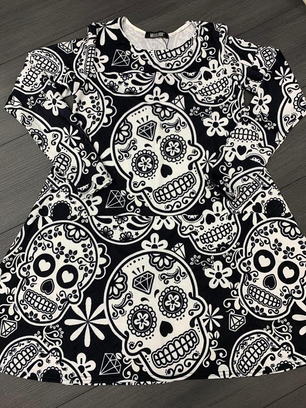 Black Crazy Skull Halloween Swing Dress