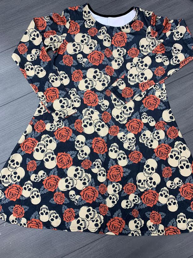 Skulls and Roses Halloween Swing Dress