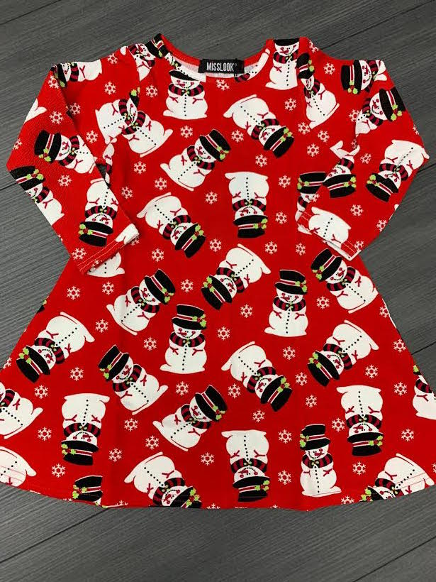Kid's Red Snowman Christmas Swing Dress - Missfiga.com