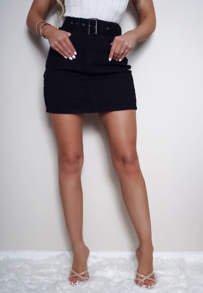 Kaz High Waisted Black Washed Denim Skirt - Missfiga.com