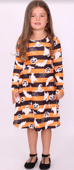 Kids Striped Creature Halloween Swing Dress