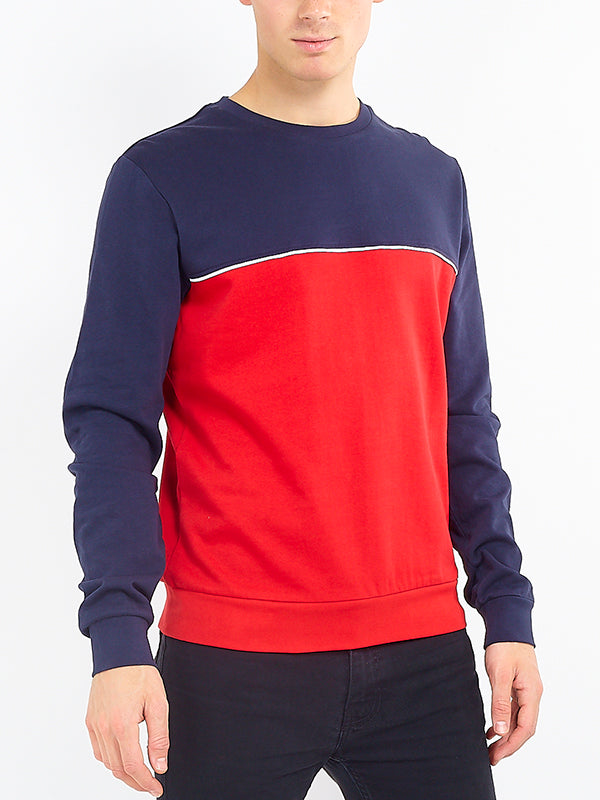 Mens Red Piping Detail Colour Block Sweatshirt