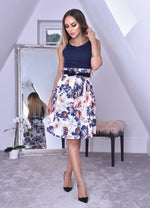 Robyn Navy Pleated Floral Skater Dress