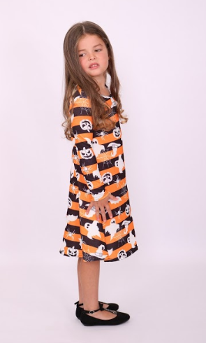 Kids Striped Creature Halloween Swing Dress - Missfiga.com
