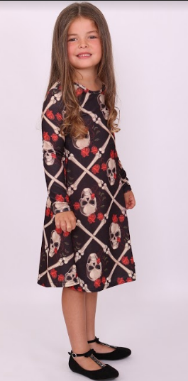 Kids Sectioned Skull Halloween Swing Dress - Missfiga.com