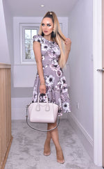 Elise Grey Cap Sleeve Floral Skater Dress