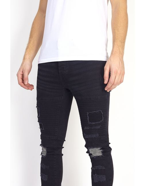 Mens Patch Detail Biker Style Charcoal Skinny Jeans - Missfiga.com