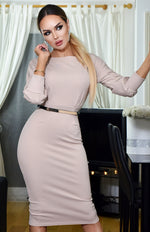 Selena Long Sleeve Midi Dress Beige