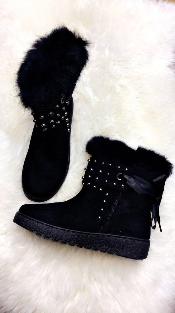 Hina Black Studded Fur Boots