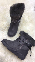 Hina Grey Studded Fur Boots