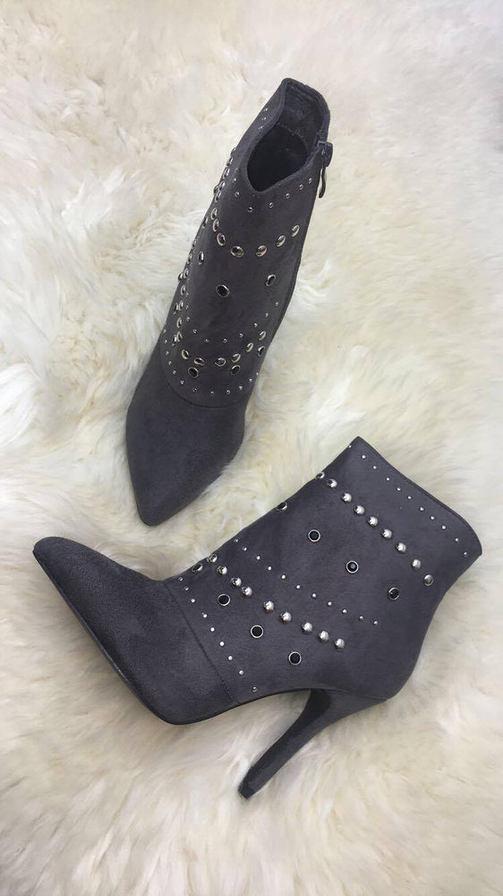 Matilda Grey Pencil Heel Boots