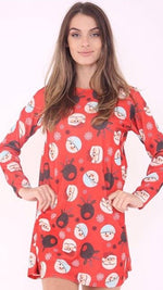 Red Emoji Christmas Swing Dress