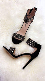 Bello Black & Gold Embellished Ankle Sandals