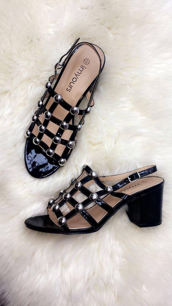 Enid Black Bubble Sandals