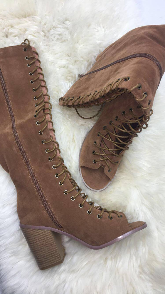 Devin Tan Lace-Up Open Toe Boots