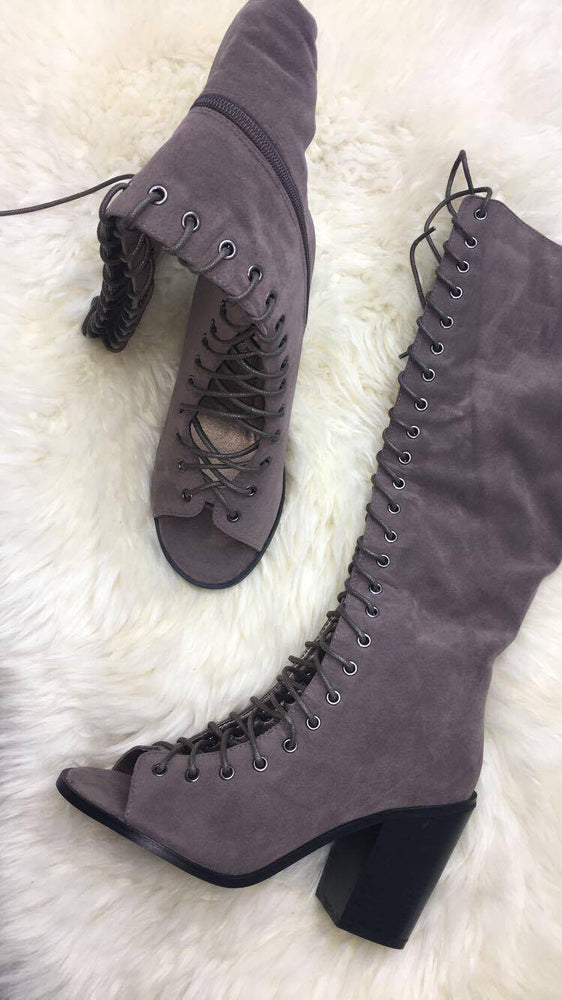 Devin Grey Lace-Up Open Toe Boots