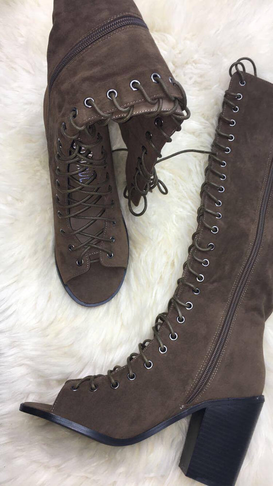 Devin Khaki Lace-Up Open Toe Boots
