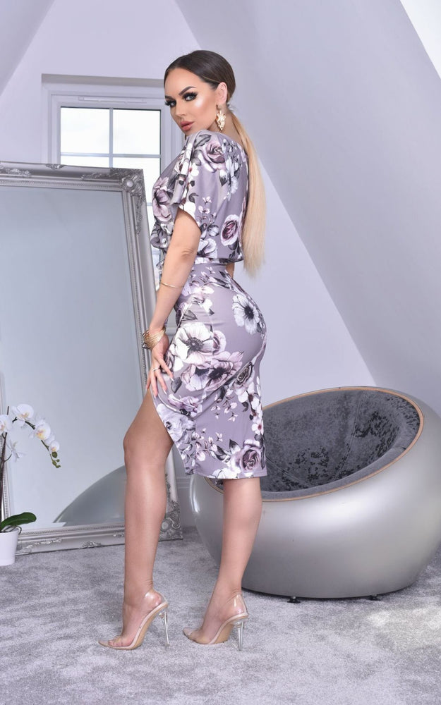 Grey Floral Judith Batwing Dress - Missfiga.com