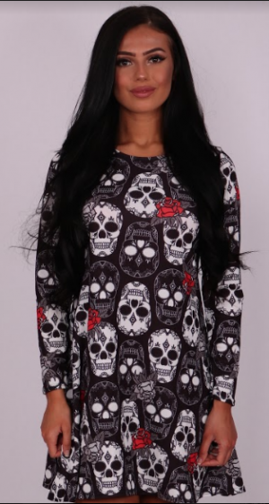 Skulls & Rose Halloween Swing Dress - Missfiga.com