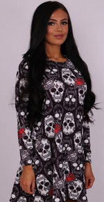 Skulls & Rose Halloween Swing Dress