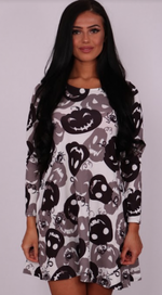 Happy Pumpkin Halloween Swing Dress - Missfiga.com