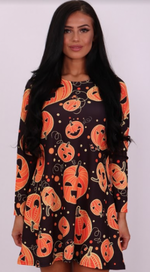 Crazy Pumpkin Halloween Swing Dress