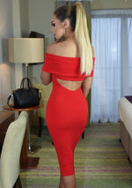 Elodie Red Backless Bardot Dress