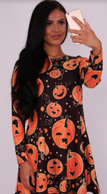 Crazy Pumpkin Halloween Swing Dress - Missfiga.com