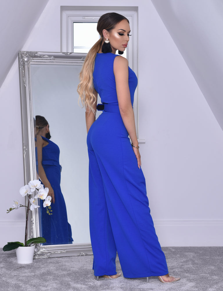 294dafe581 Annie Royal Blue Wide Leg Sleeveless Jumpsuit