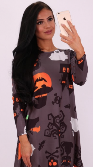 Phantom Creature Halloween Swing Dress - Missfiga.com