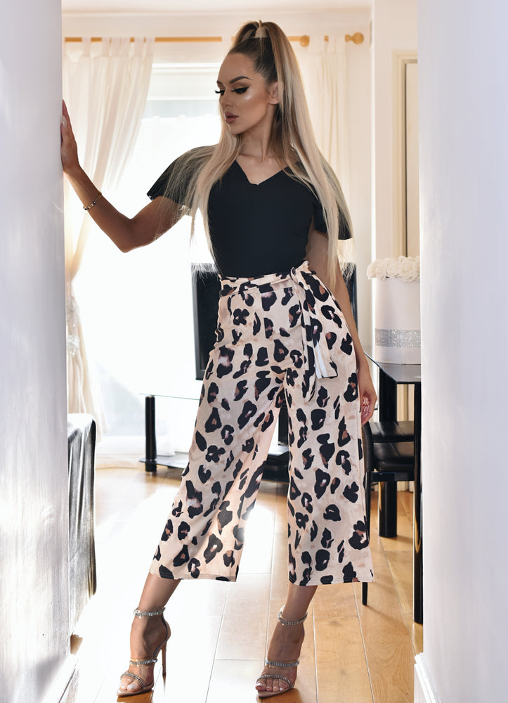 beb01b5efe1 Louise Leopard Frill Sleeve Culotte Jumpsuit