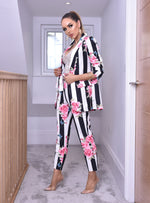 Alison Floral Stripe Paper Bag Pocket Belted Trousers