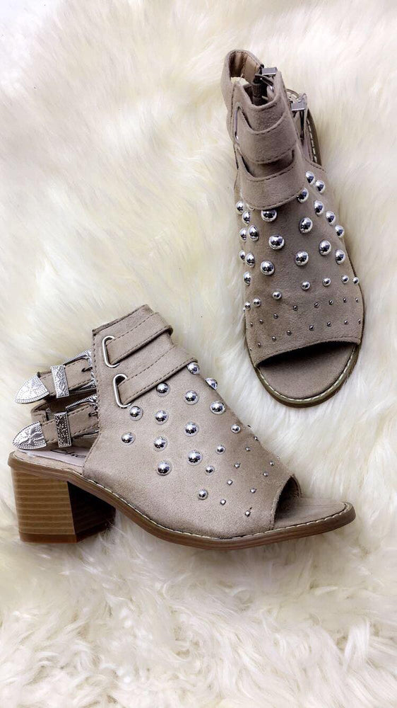 Bonita Nude Bubble Buckle Open Toe Boots