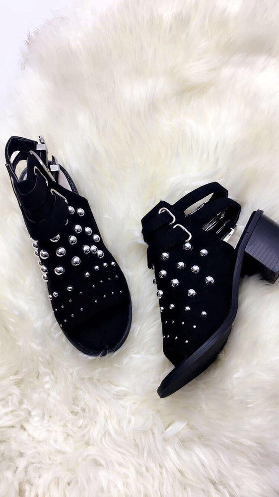 Bonita Black Bubble Buckle Open Toe Boots