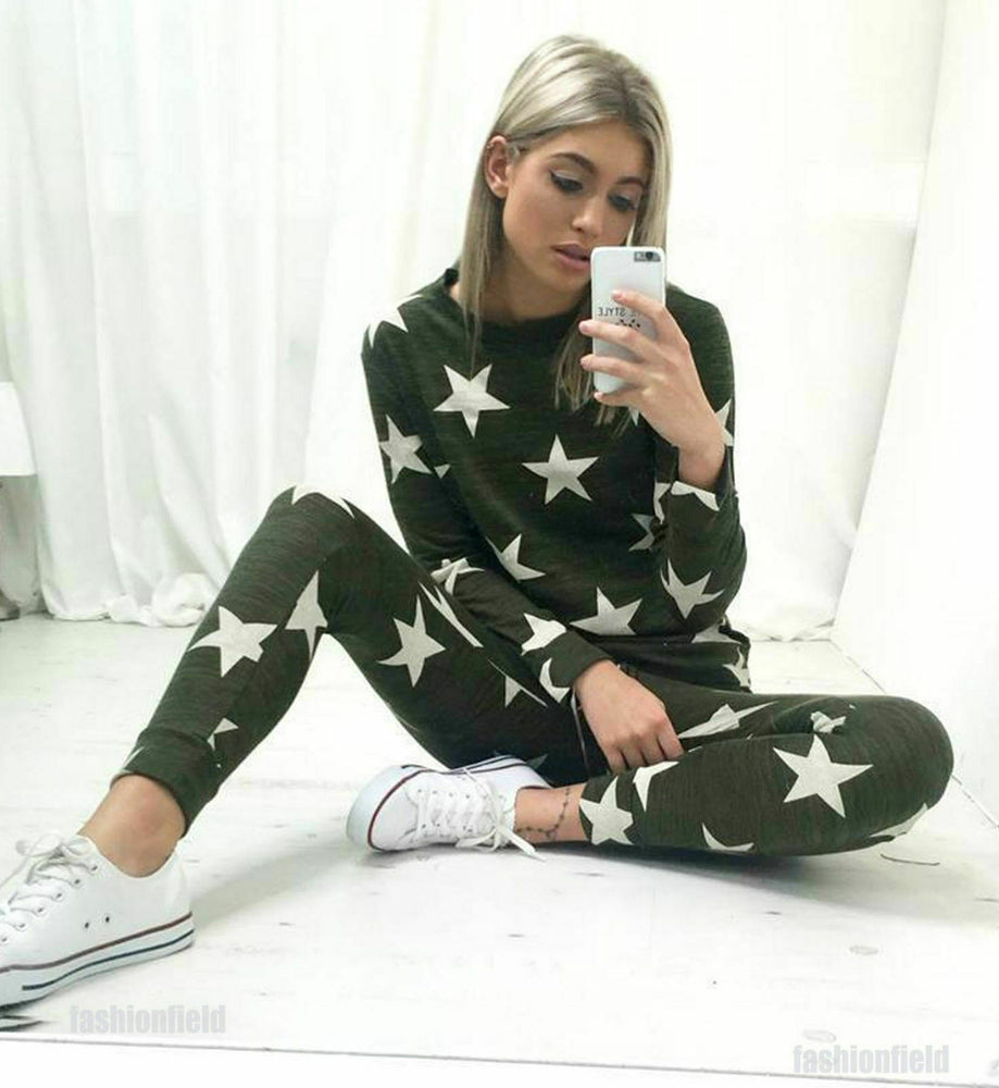 Khaki Star Two Piece Loungewear Set