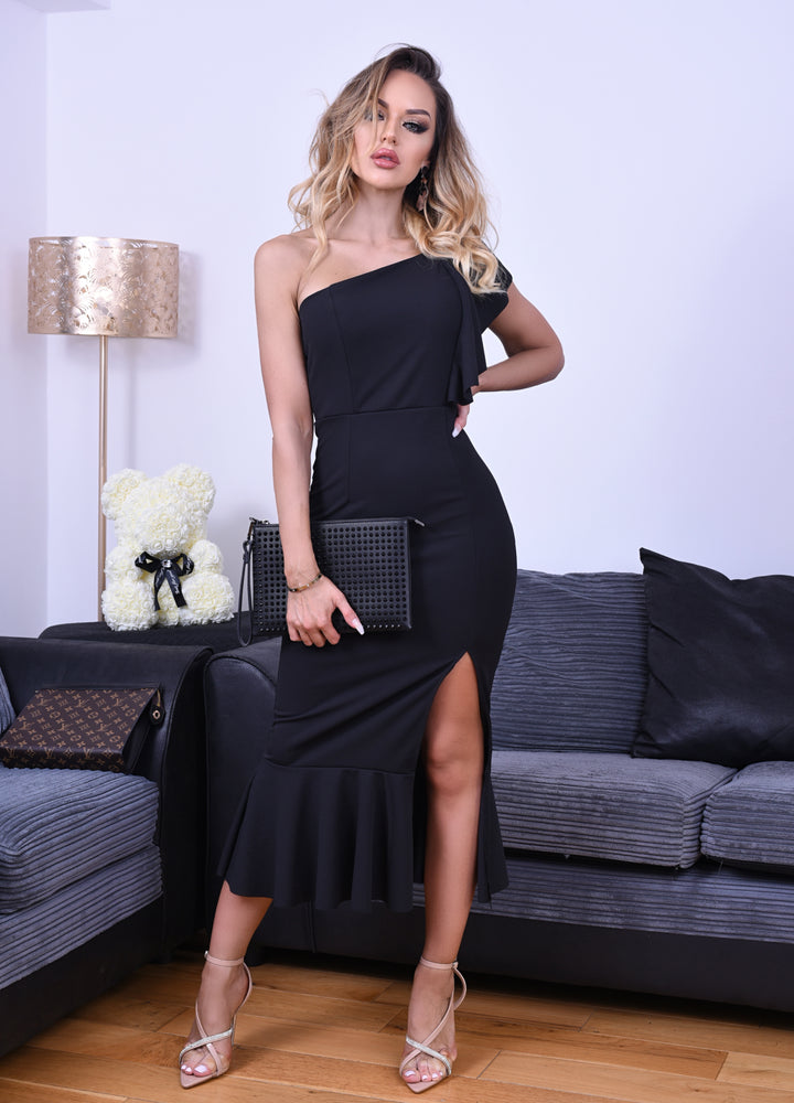 Felicity Black One Shoulder Ruffle Maxi Dress