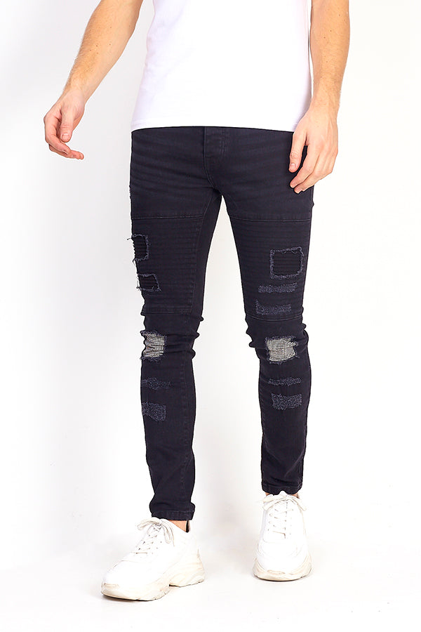Mens Patch Detail Biker Style Charcoal Skinny Jeans