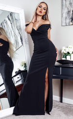 Cher Black Bardot Slit Maxi Dress