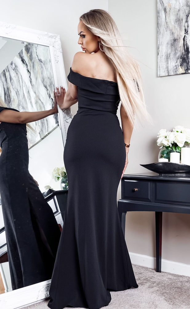 Cher Black Bardot Slit Maxi Dress - Missfiga.com