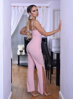 Sonia Pink Strappy Lace Slit Leg Jumpsuit - Missfiga.com