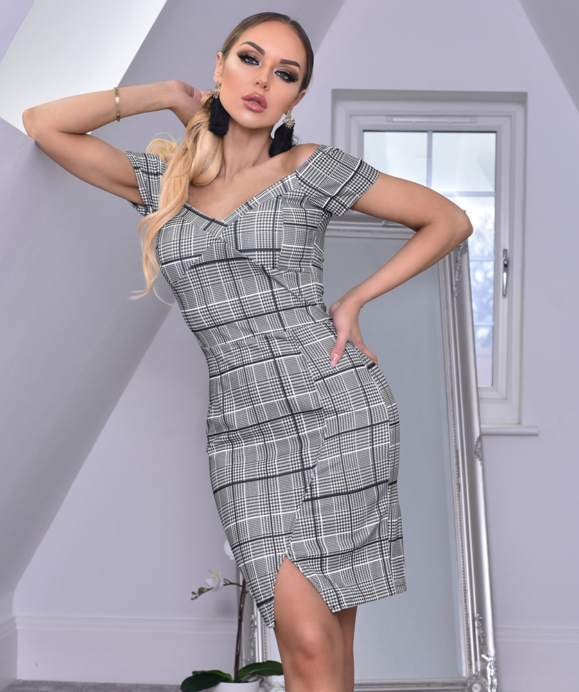 Georgia Houndstooth Split Hem Off the Shoulder Dress