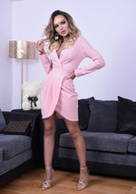 Mariah Pink Pleated Wrap Long Sleeve Tailored Mini Dress