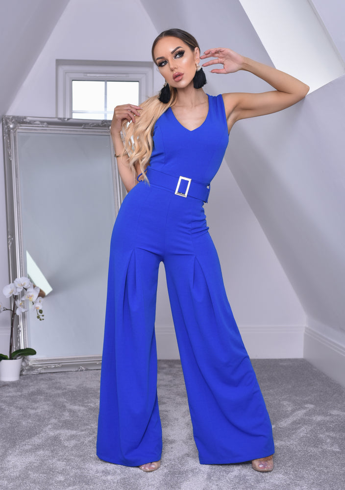 Annie Royal Blue Wide Leg Sleeveless Jumpsuit